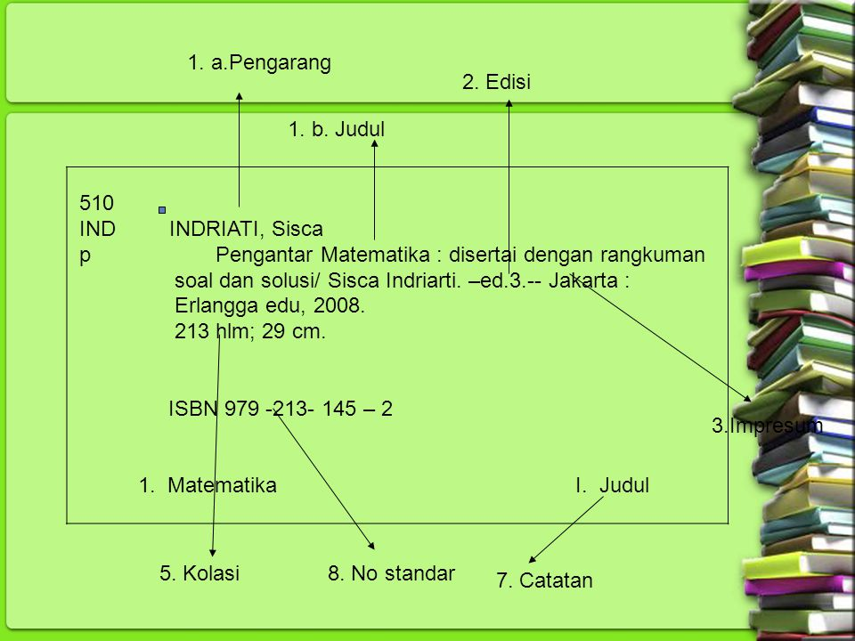 1. a.Pengarang 2. Edisi. 1. b. Judul. 510. IND INDRIATI, Sisca. p Pengantar Matematika : disertai dengan rangkuman.