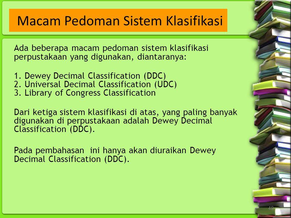 Macam Pedoman Sistem Klasifikasi