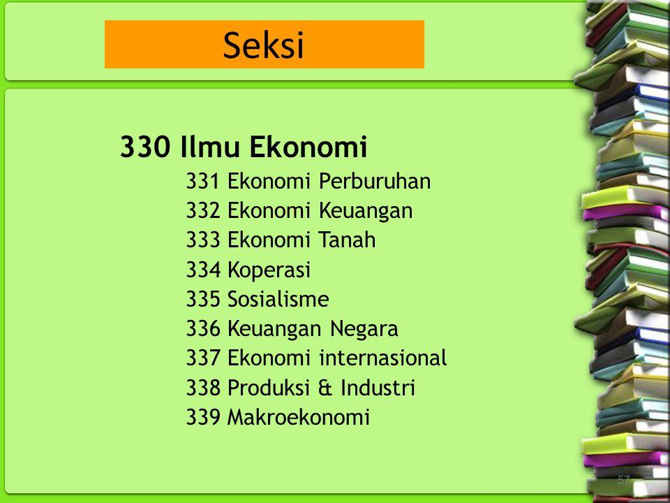 Seksi 330 Ilmu Ekonomi 331 Ekonomi Perburuhan 332 Ekonomi Keuangan