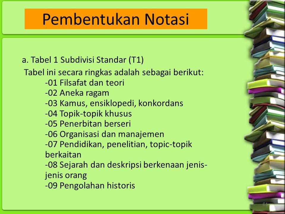 Pembentukan Notasi a. Tabel 1 Subdivisi Standar (T1)
