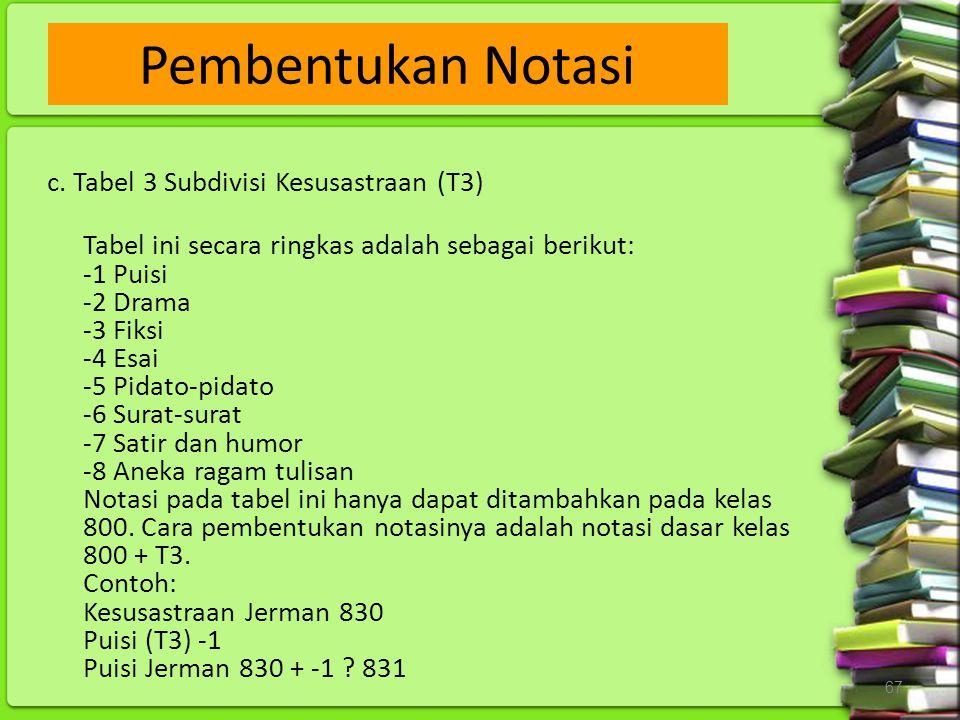 Pembentukan Notasi c. Tabel 3 Subdivisi Kesusastraan (T3)