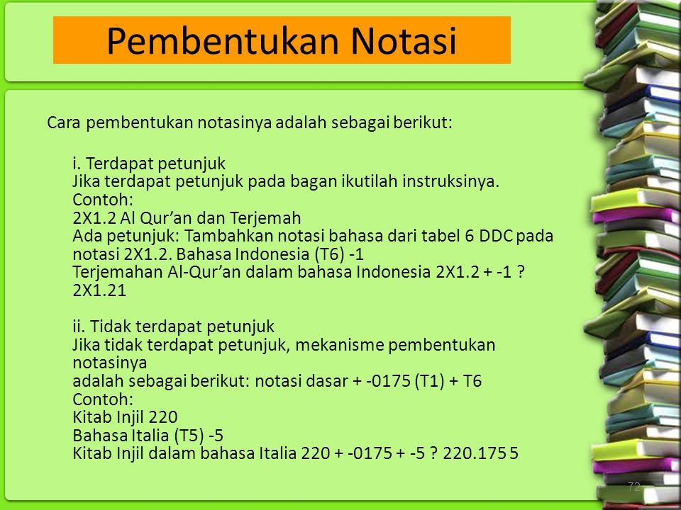Pembentukan Notasi Cara pembentukan notasinya adalah sebagai berikut: