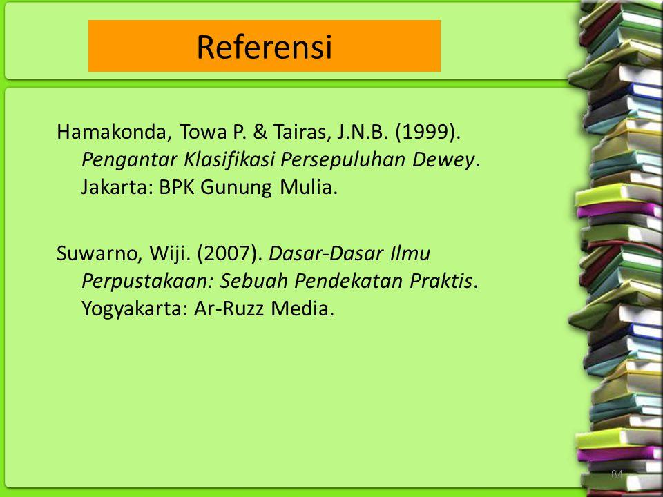 Referensi Hamakonda, Towa P. & Tairas, J.N.B. (1999). Pengantar Klasifikasi Persepuluhan Dewey. Jakarta: BPK Gunung Mulia.