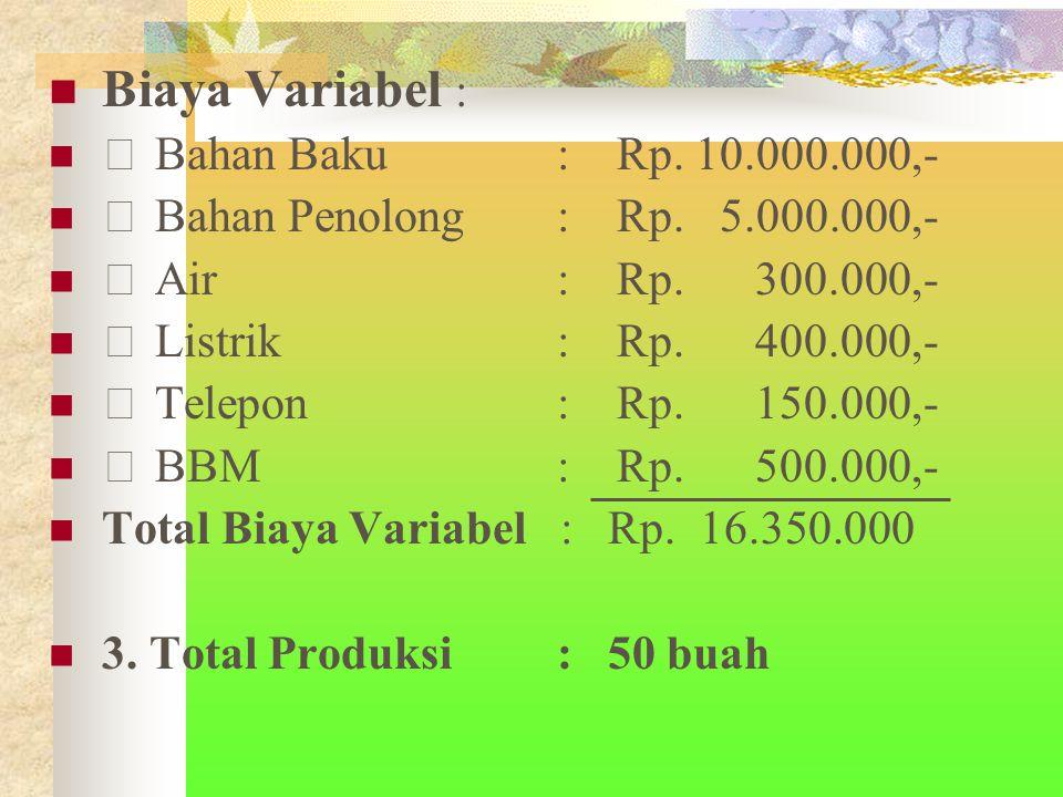 Biaya Variabel :  Bahan Baku : Rp. 10.000.000,-