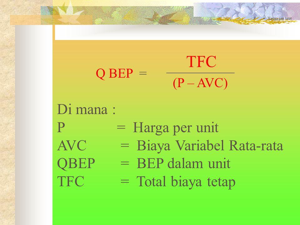 TFC Di mana : P = Harga per unit AVC = Biaya Variabel Rata-rata