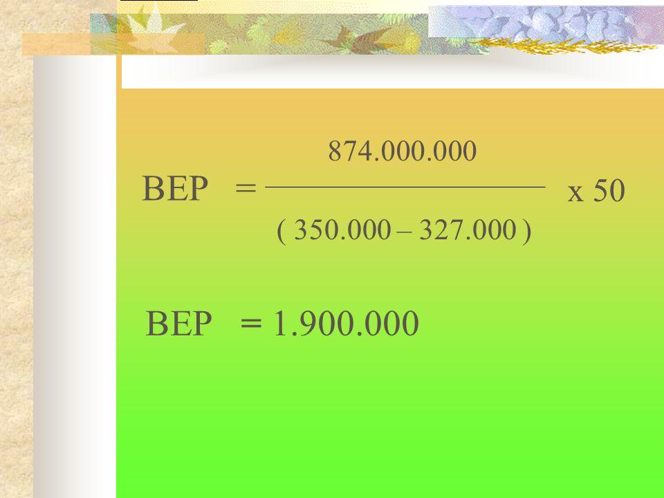 874.000.000 BEP = x 50 ( 350.000 – 327.000 ) BEP = 1.900.000