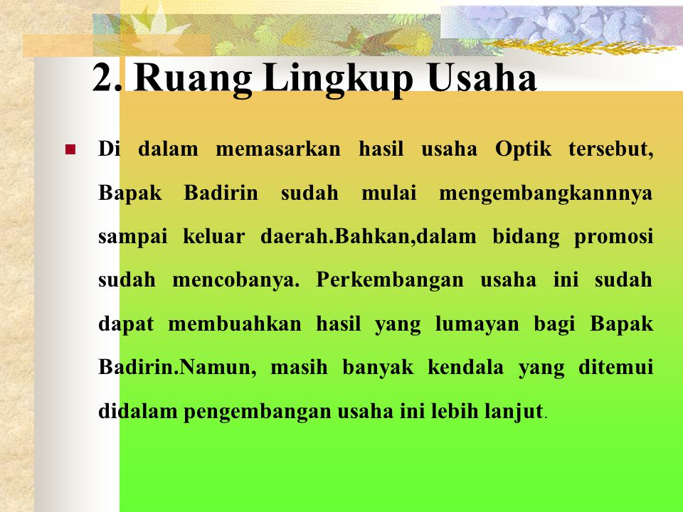 2. Ruang Lingkup Usaha