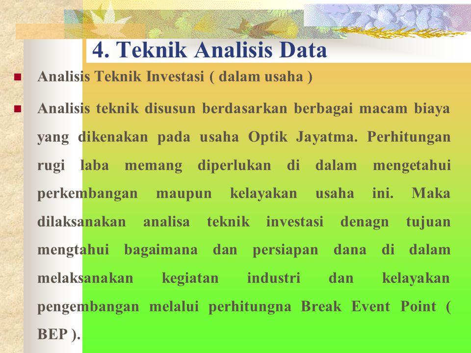 4. Teknik Analisis Data Analisis Teknik Investasi ( dalam usaha )
