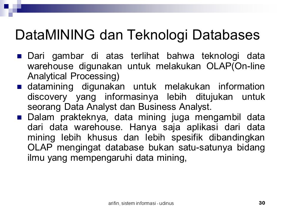 DataMINING dan Teknologi Databases