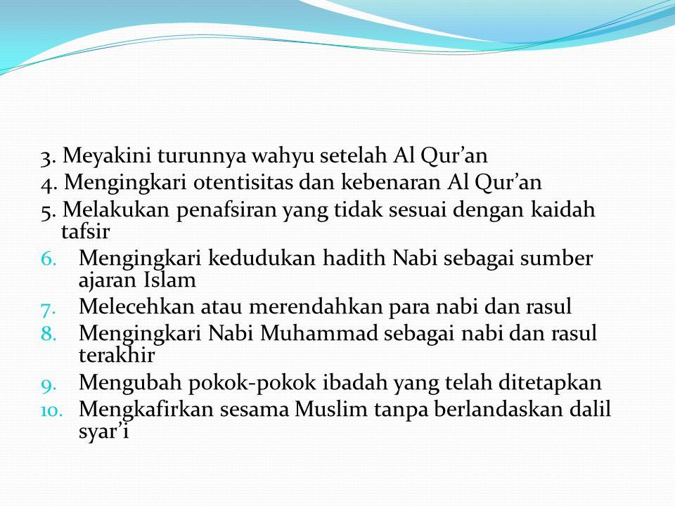 3. Meyakini turunnya wahyu setelah Al Qur'an