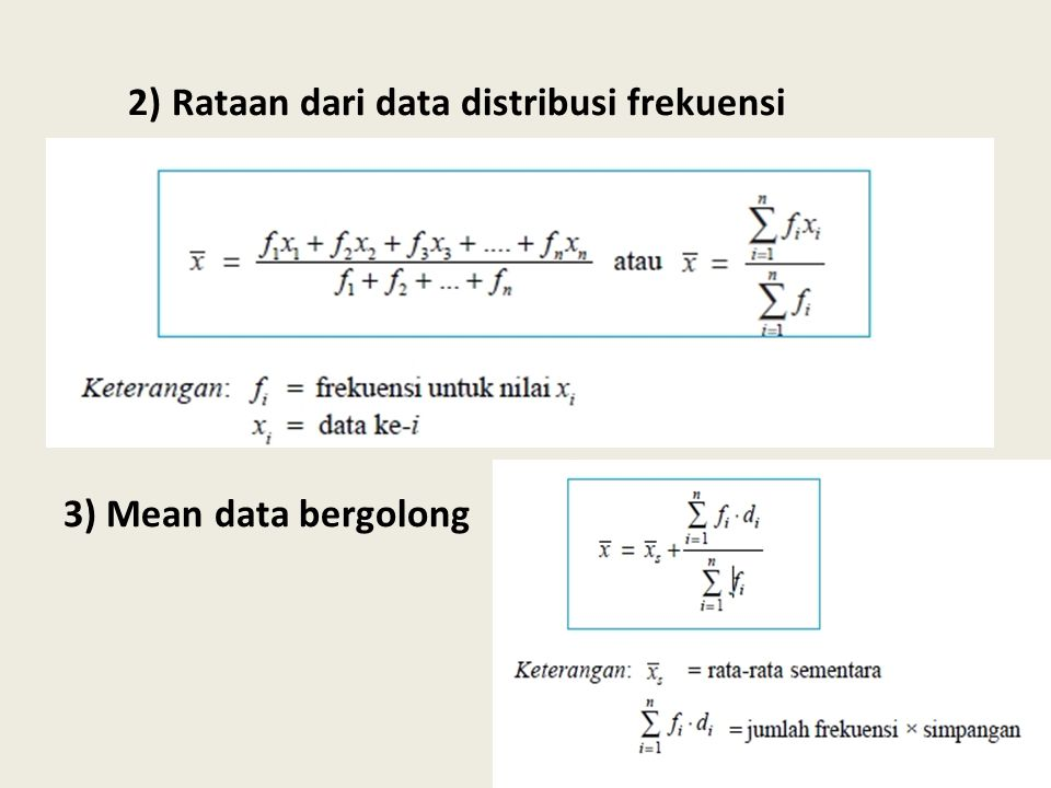 2) Rataan dari data distribusi frekuensi 3) Mean data bergolong
