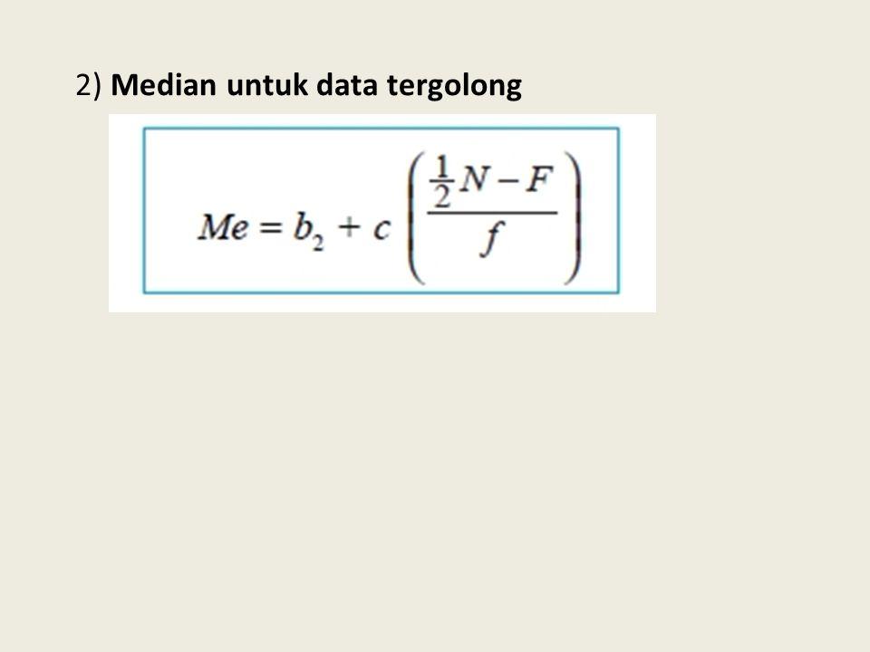 2) Median untuk data tergolong