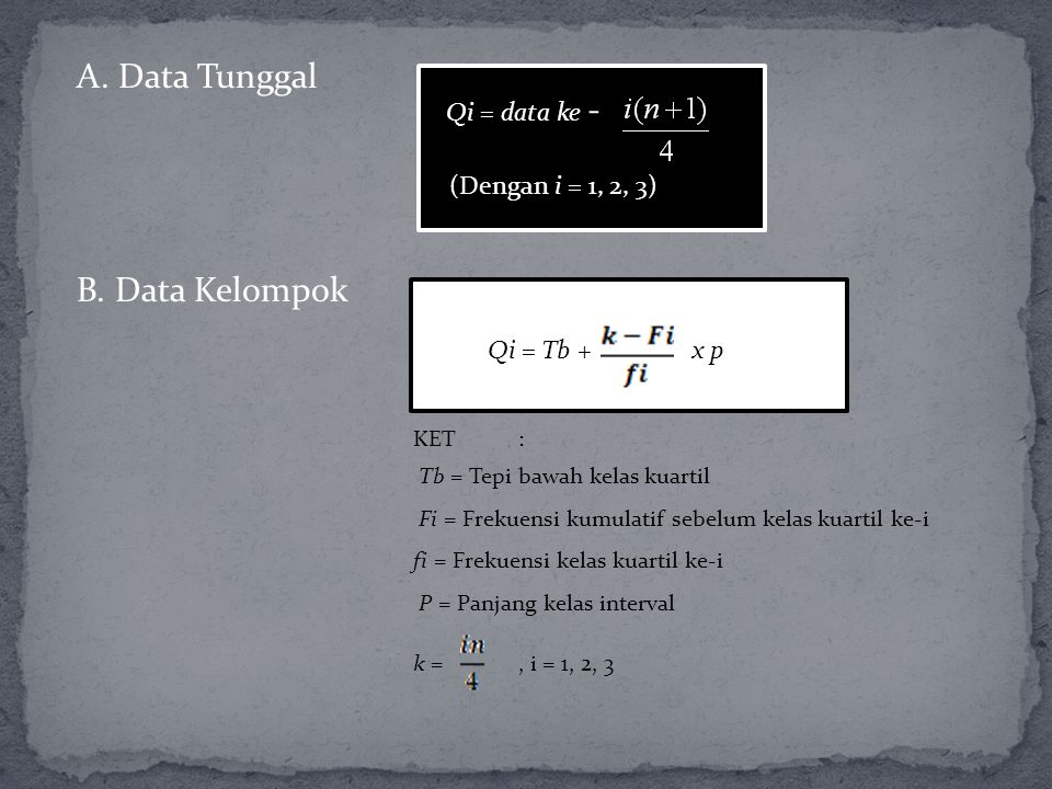 A. Data Tunggal B. Data Kelompok Qi = data ke - (Dengan i = 1, 2, 3)