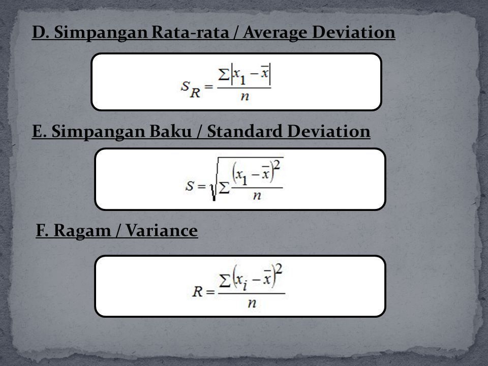 D. Simpangan Rata-rata / Average Deviation