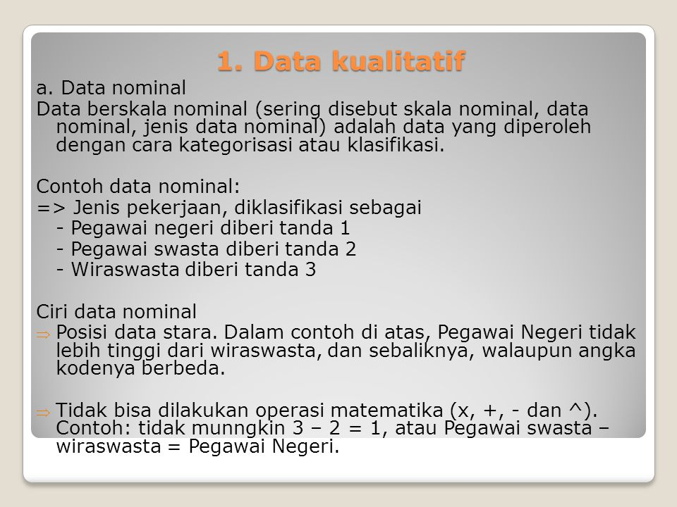 1. Data kualitatif a. Data nominal