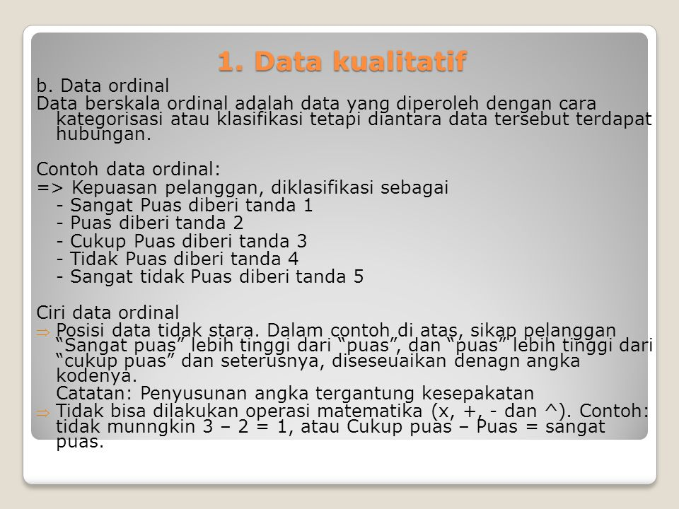1. Data kualitatif b. Data ordinal