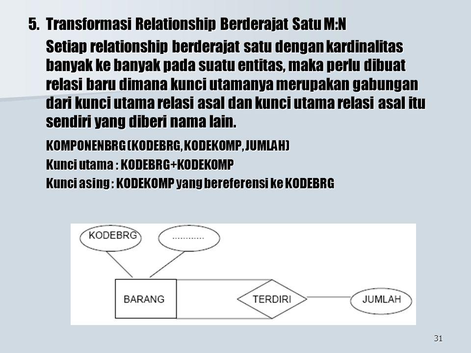 5. Transformasi Relationship Berderajat Satu M:N