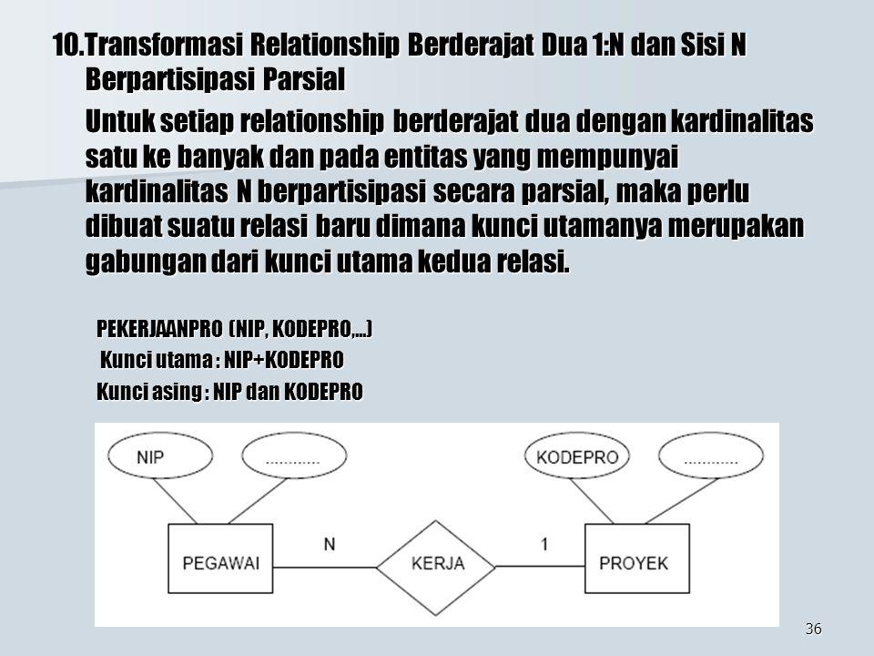 10.Transformasi Relationship Berderajat Dua 1:N dan Sisi N Berpartisipasi Parsial