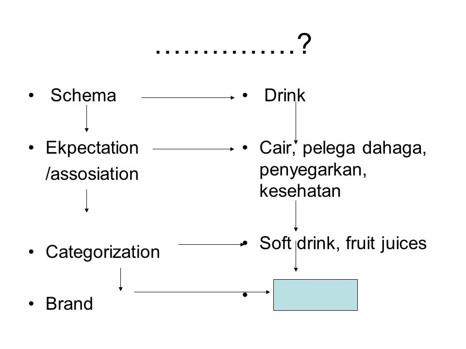 …………… Schema Ekpectation /assosiation Categorization Brand Drink