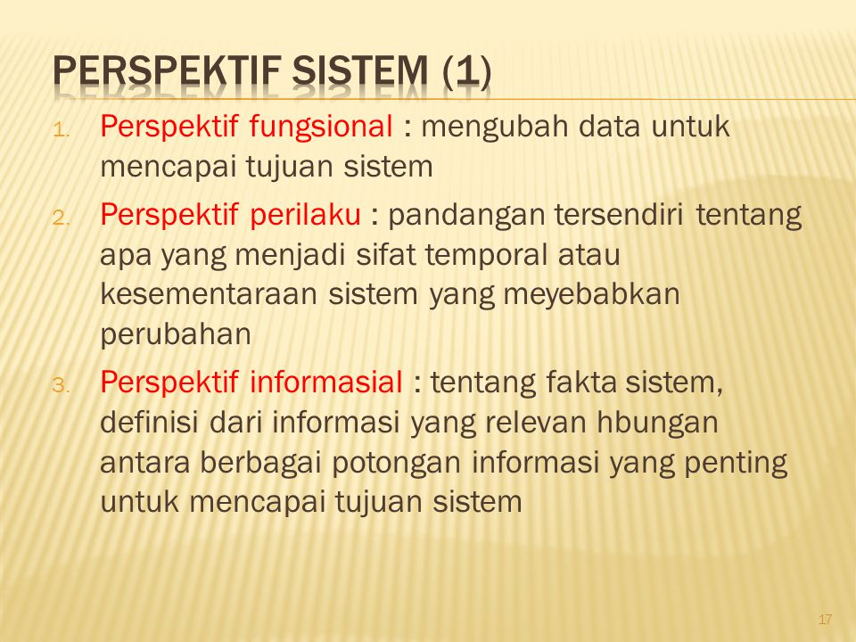 Perspektif Sistem (1) Perspektif fungsional : mengubah data untuk mencapai tujuan sistem.