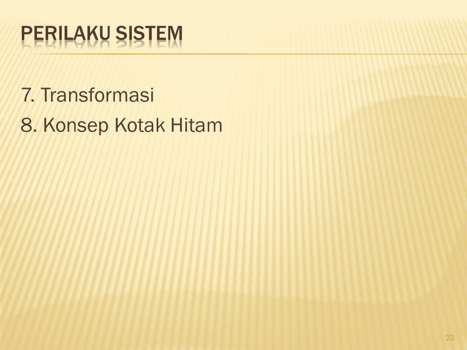 Perilaku Sistem 7. Transformasi 8. Konsep Kotak Hitam