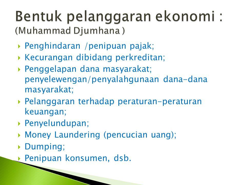 Bentuk pelanggaran ekonomi : (Muhammad Djumhana )