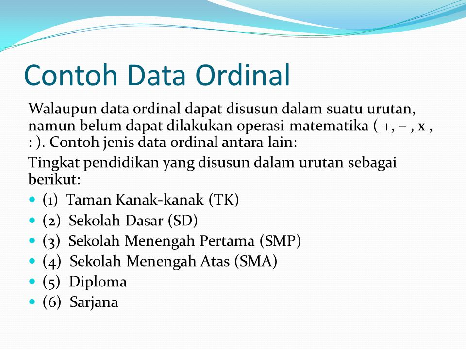Contoh Data Ordinal