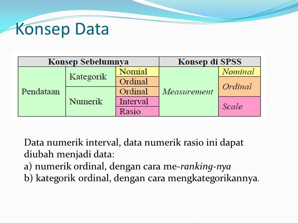 Konsep Data Data numerik interval, data numerik rasio ini dapat