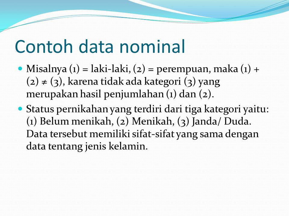Contoh data nominal