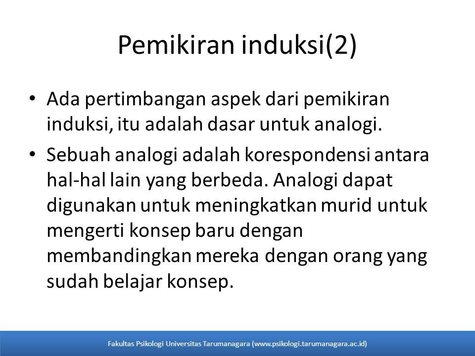 Pemikiran induksi(2) Ada pertimbangan aspek dari pemikiran induksi, itu adalah dasar untuk analogi.