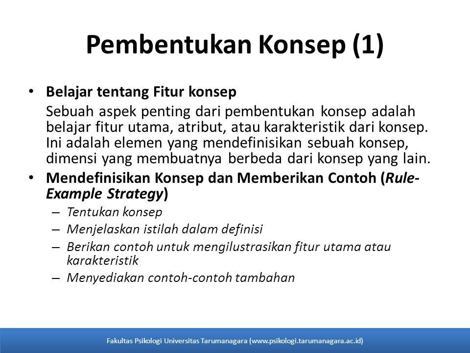 Pembentukan Konsep (1) Belajar tentang Fitur konsep