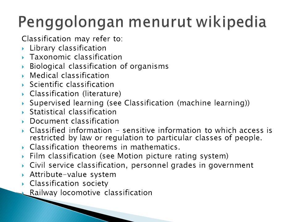 Penggolongan menurut wikipedia