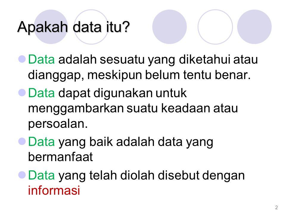 Apakah data itu Data adalah sesuatu yang diketahui atau dianggap, meskipun belum tentu benar.