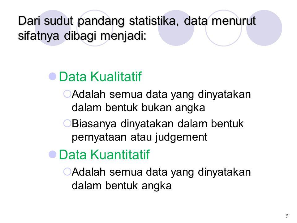 Dari sudut pandang statistika, data menurut sifatnya dibagi menjadi: