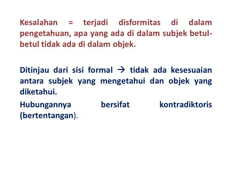 Kesalahan = terjadi disformitas di dalam pengetahuan, apa yang ada di dalam subjek betul-betul tidak ada di dalam objek.