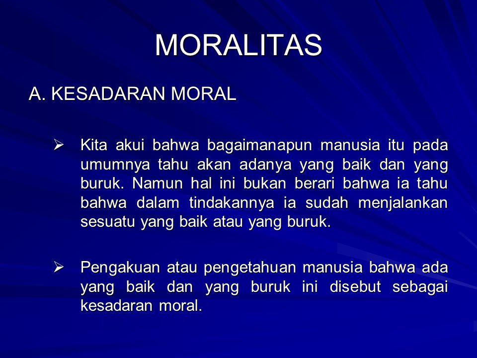 MORALITAS A. KESADARAN MORAL