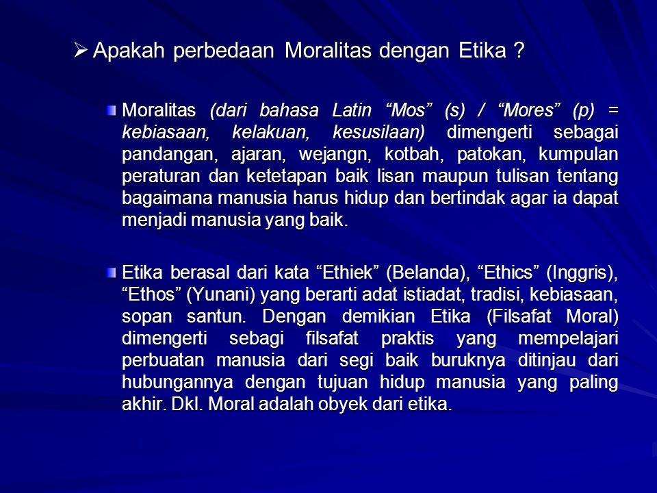 Apakah perbedaan Moralitas dengan Etika