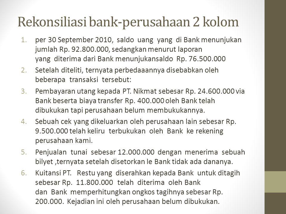 Rekonsiliasi bank-perusahaan 2 kolom