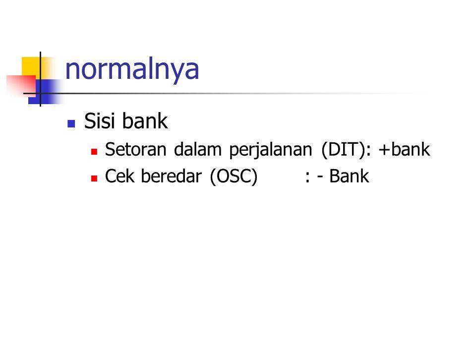 normalnya Sisi bank Setoran dalam perjalanan (DIT): +bank
