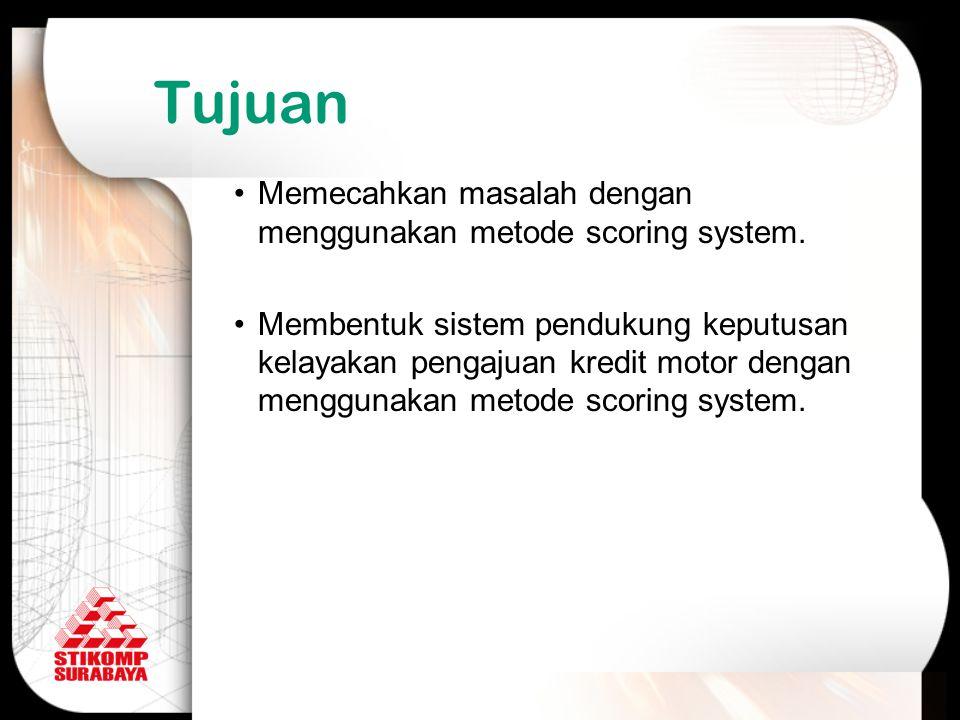 Tujuan Memecahkan masalah dengan menggunakan metode scoring system.
