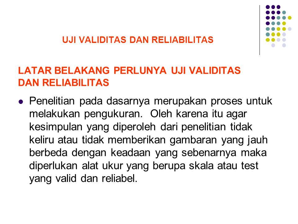 LATAR BELAKANG PERLUNYA UJI VALIDITAS DAN RELIABILITAS