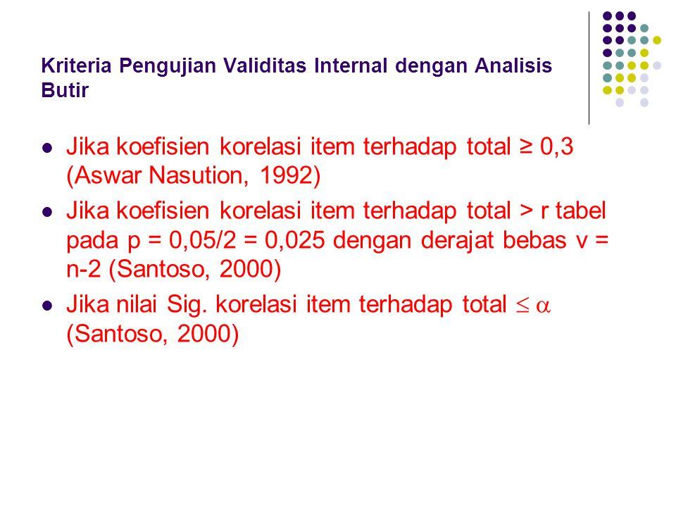 Kriteria Pengujian Validitas Internal dengan Analisis Butir