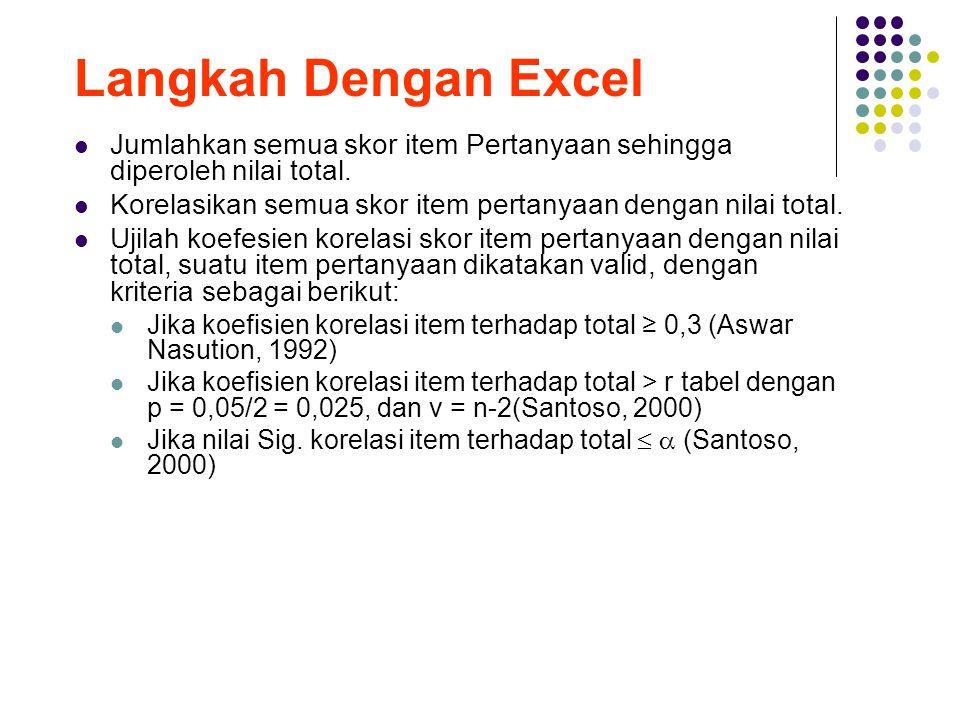 Langkah Dengan Excel Jumlahkan semua skor item Pertanyaan sehingga diperoleh nilai total. Korelasikan semua skor item pertanyaan dengan nilai total.