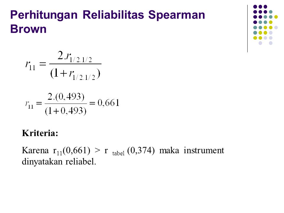 Perhitungan Reliabilitas Spearman Brown