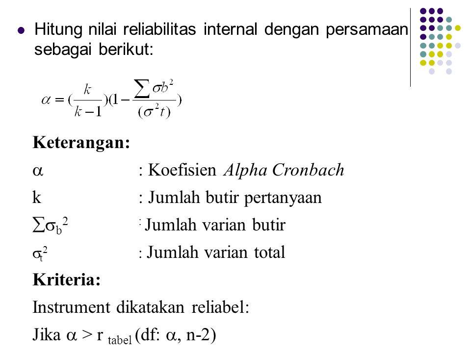  : Koefisien Alpha Cronbach k : Jumlah butir pertanyaan