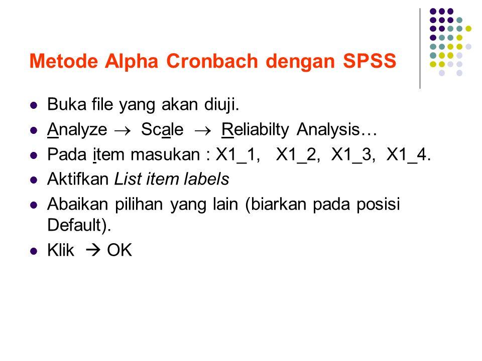 Metode Alpha Cronbach dengan SPSS