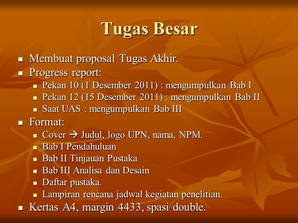 Tugas Besar Membuat proposal Tugas Akhir. Progress report: Format: