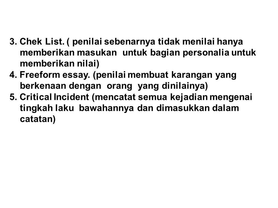 3. Chek List. ( penilai sebenarnya tidak menilai hanya memberikan masukan untuk bagian personalia untuk memberikan nilai)