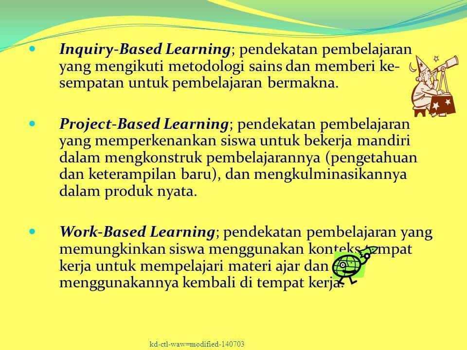 Inquiry-Based Learning; pendekatan pembelajaran yang mengikuti metodologi sains dan memberi ke-sempatan untuk pembelajaran bermakna.