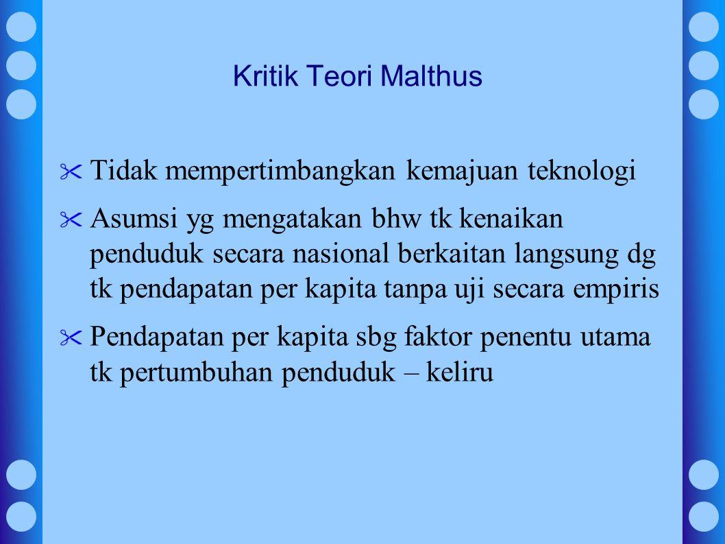 Kritik Teori Malthus Tidak mempertimbangkan kemajuan teknologi.